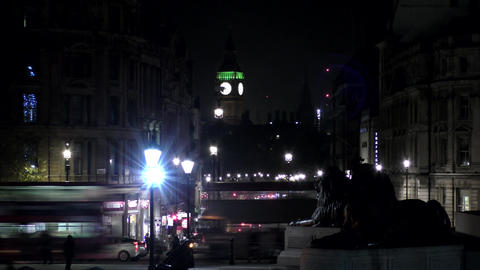Time lapse. Night London. The road leading to the Tower of Big Ben Footage