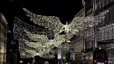 Night London. Glowing Angel Footage