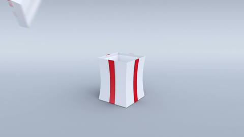 White gift box opening. Alpha channel and camera tracking markers included. 4K Animation