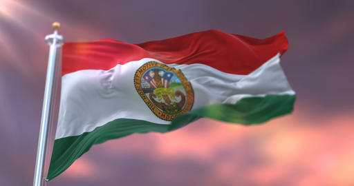 Flag of San Diego county at sunset, state of California in United States - loop Animation