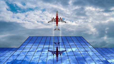 Airplane flies over modern glass building Animation
