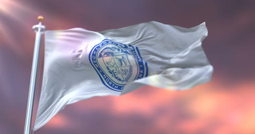 Flag of Mecklenburg county at sunset, in North Carolina, in United States - loop Animation