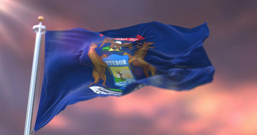 Flag of american state of Michigan at sunset, region of the United States - loop Animation