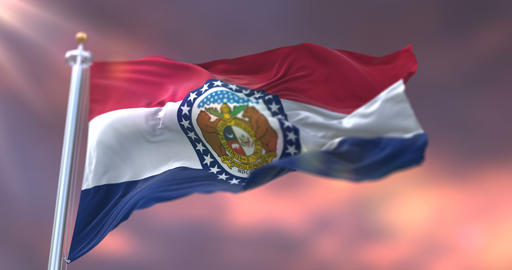 Flag of Missouri state at sunset, region of the United States - loop Animation