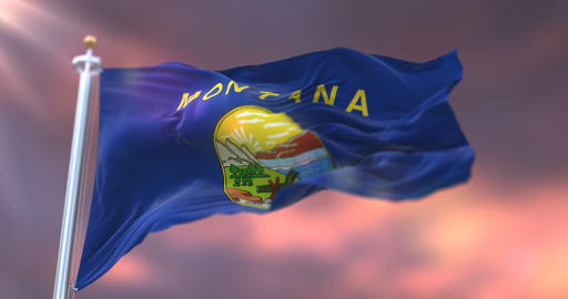 Flag of Montana state at sunset, region of the United States - loop Animation