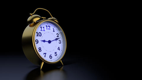 Time goes by on classic alarm clock at twilight time Animation