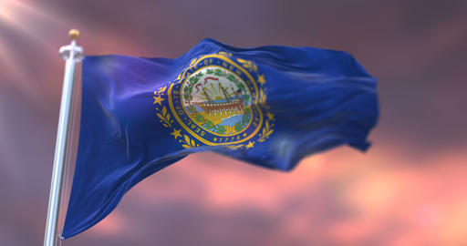 Flag of New Hampshire state at sunset, region of the United States - loop Animation