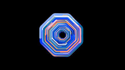 Circles gather in symbol octagon. After it crumbles in a line and moves to the camera. Alpha channel Animation