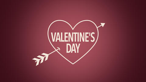 Animated closeup Valentines Day text and motion heart with arrow on Valentines day background Animation