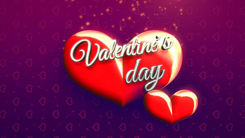 Animated closeup Valentine Day text and motion romantic big hearts on Valentine day shiny background Animation