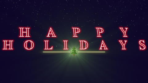 Animated closeup Happy Holidays text with Christmas tree on winter holiday background Animation