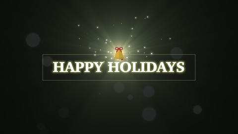 Animated closeup Happy Holidays text with Christmas gift on winter holiday background Animation