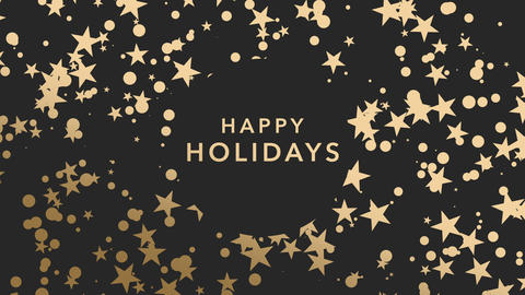 Animated closeup Happy Holidays text and gold snowflakes and stars on winter holiday background Animation