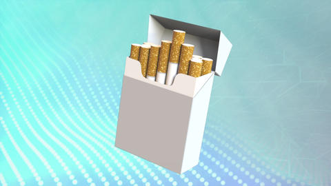 cigarette box on digital background - risk of tobacco concept Animation