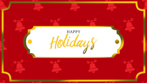 Animated closeup Happy Holidays text and bells with gold frame on holiday background Animation