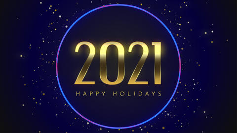 Animated closeup 2021 and Happy Holidays text with fly gold snowflakes and glitter on blue holiday Animation