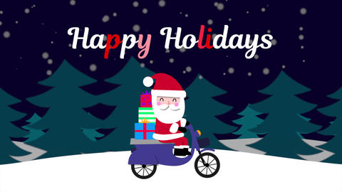 Animated closeup Happy Holidays text and Santa Claus on motorcycle in snow forest, holiday Animation