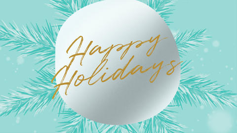 Animated closeup Happy Holidays text and winter landscape with snowflakes on holiday background Animation
