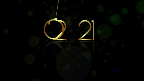 New Year 2021. Happy New Years Celebration. Winter Animation With Gold Animation