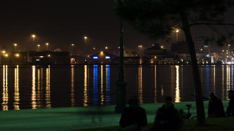 Timelapse of night life on waterfront in Thessaloniki, Greece Footage