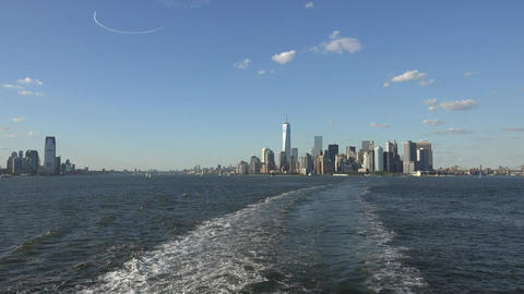 New York Harbor And City Skyline Live Action