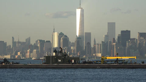 Industrial Boat In New York Harbor Live Action