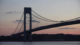 Suspension Bridge At Night Footage