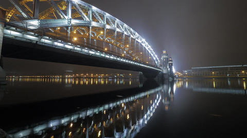 Timelapse of Peter the Great or Bolsheohtinskiy Bridge in St. Petersburg Footage