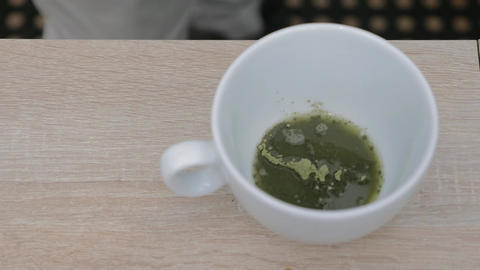 Making matcha tea in a cafe Footage