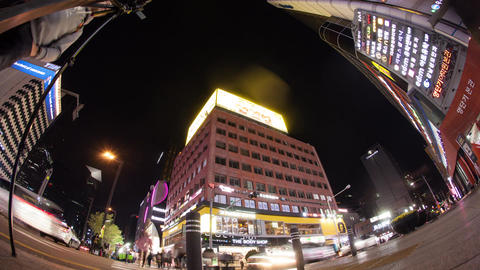 Night traffic in the streets of big modern city. Seoul, South Korea Live Action