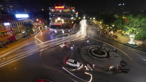 Timelapse of city square with traffic at night. Hanoi, Vietnam Footage