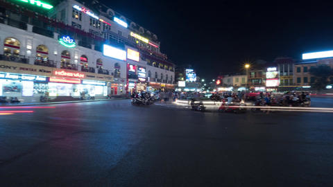 Timelapse of night city Quang truong Dong Kinh Nghia Thuc, seen busy road with p Footage