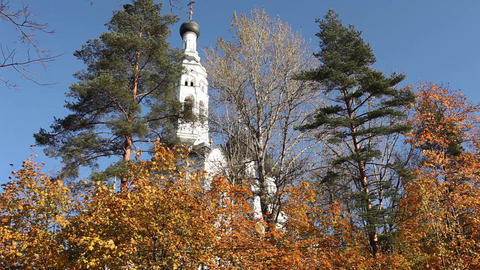 Autumn landscape with white church Footage