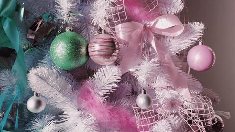 Pastel Christmas tree look, decor in modern style as holiday home decoration Live Action