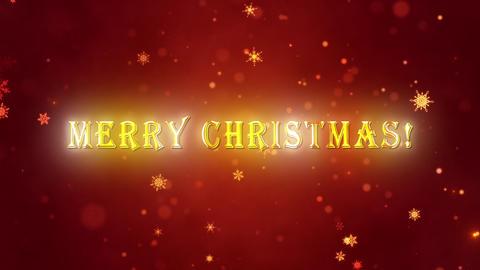 Congratulatory Christmas video card. Decorative gold title Animation