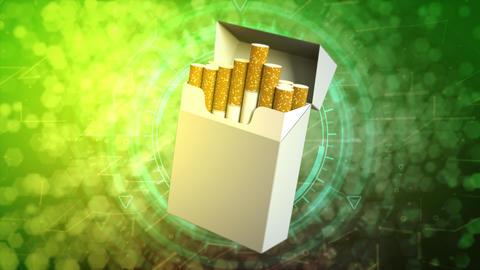 cigarette box on cyber background - risk of cigarettes concept Animation