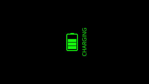 The battery is charging on a black background, the battery charging progress indicator Live Action