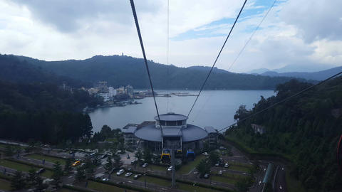 Cable car station of Yuchi, view from inside cable car Live Action