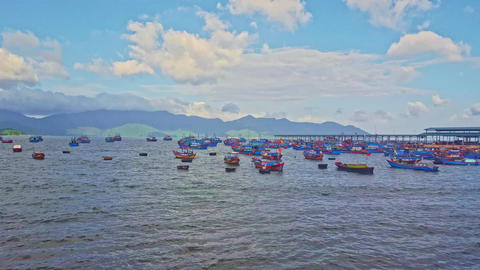 Vietnamese Fishing Boats Drift in Azure Sea at Dawn Footage