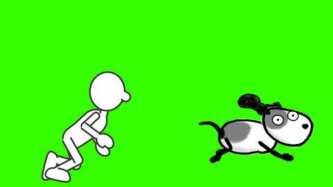Simply Drawn Man, Chasing Dog: Looping + Matte Animation