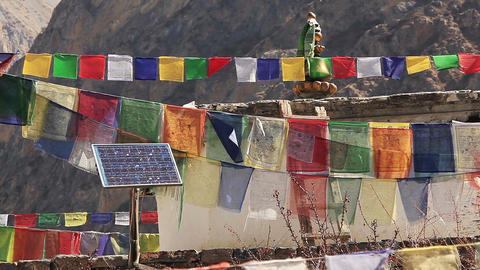 Multicolored Prayer Flags Solar Panel Footage
