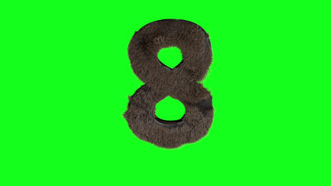 Abstract number digit 4 eight sign hairy number 8 eight green screen 8 eight Animation