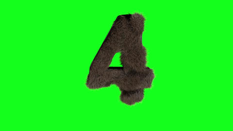 Abstract number digit 4 four sign hairy number 4 four green screen Animation