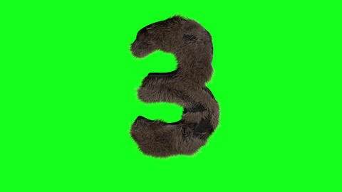 Abstract number digit 3 three sign hairy number 3 three green Animation