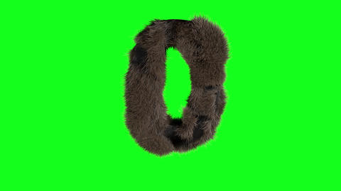 Abstract number digit 0 zero sign hairy number 0 zero green screen 0 Animation