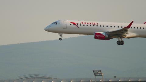 Regional jet airliner landing Live Action