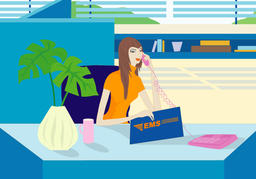 Portrait of young business woman working in office,illustration and painting 사진