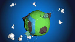 Low Poly Earth with Yellow Airplane Animation