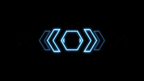Futuristic screensaver with hex corner. HUD Heads Up Display Scanner high tech t Animation