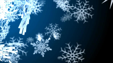 Snowflakes falling on colorfull background. Loop animation Animation